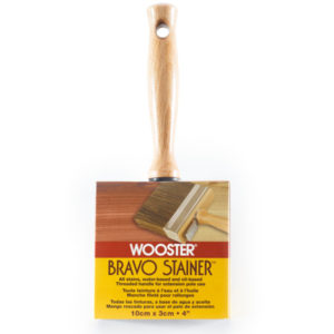 Wooster Bravo Stainer Brush, Wooster Bravo Stainer, stainer brush, brush for apply stain, brush for applying stain, application supplies for log cabin, application supplies for log home, application supplies for log cabin home, log cabin care
