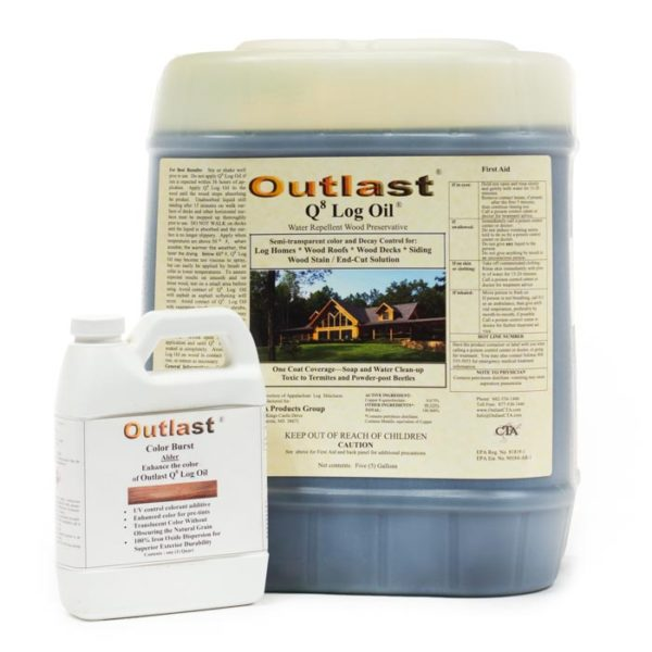 Outlast Q8 Log Oil Exterior Preservative (non-pre-mix), outlast q8 log oil, outlast q8 log oil, outlast log oil, outlast q8 log oil non-pre-mix, log cabin care, log home exterior treatment, log cabin exterior treatment, log cabin home exterior treatment