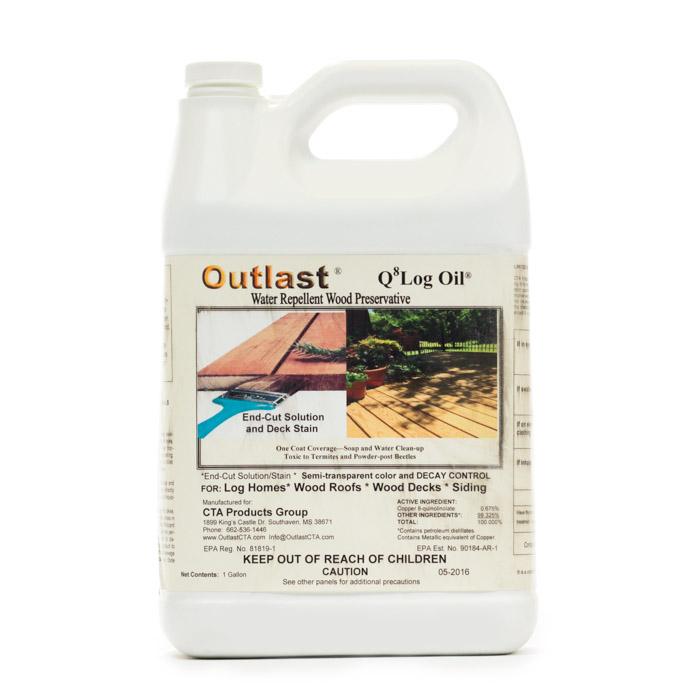 Q8 Outlast Log Home Exterior Preservative 1 Gallon, log cabin preservative, log home preservative, log cabin home preservative, Outlast Q8 Log Oil, log cabin care